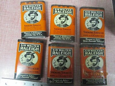 SIR WALTER RALEIGH  SMOKING TOBACCO TINS, Lot of 6