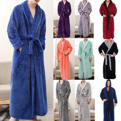 Mens Winter Lengthened Plush Shawl Bathrobe Home Sleepwear Warm Robe Coat CA