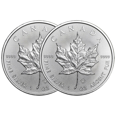 Lot of 2 - 2019 $5 Silver Canadian Maple Leaf 1 oz Brilliant Uncirculated