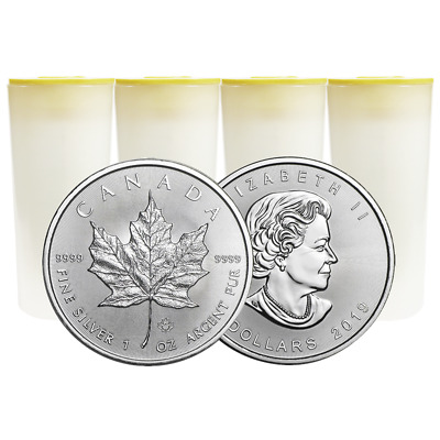 Lot of 100 - 2019 $5 Silver Canadian Maple Leaf 1 oz Brilliant Uncirculated 4 Fu