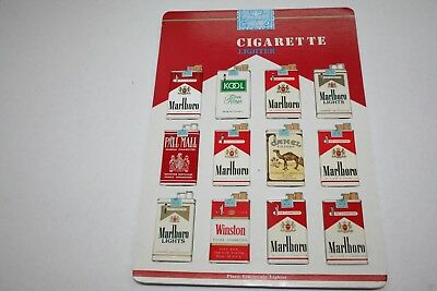 603R1-L11 Vintage 1980's Cigarette Pack Lighter Display 12 Lighters ManShack