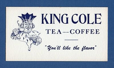 """KING COLE COFFEE & TEA Ink Blotter - 3¼""""x6"""", Smiling King w/Cup, Great Cond"""