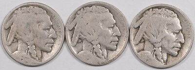 1915 P/d/s Buffalo Nickels Lot Of 3 - Circulated