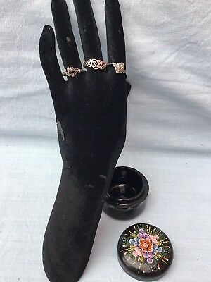 Vintage Sterling Silver Job Lot Of 3 Medium Size Rings & Black Lacquered Box