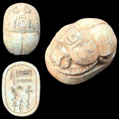 Beautiful Ancient Very Large Egyptian Scarab Bead Seal 664 - 332 Bc (1)