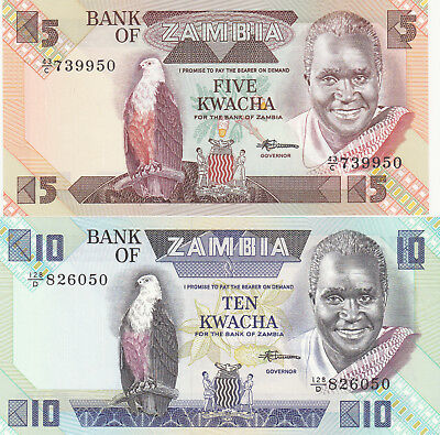 5&10 KWACHA  AUNC-UNC  BANKNOTES FROM ZAMBIA 1986!PICK-25d-26d
