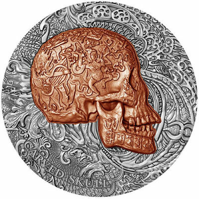 1000 Francs Cameroon 2017 - Carved Skull 1oz Ant fin Copper plated Silver Coin