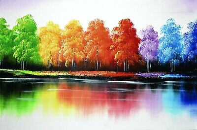 """In Full Hue"" Colorful Trees Reflection Acrylic Painted Canvas Art Decor Home"
