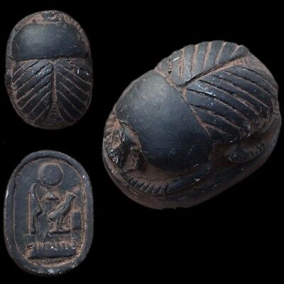 Beautiful Ancient Very Large Egyptian Scarab Bead Seal 664 - 332 Bc (2)