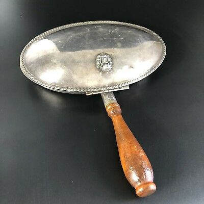 Vntg Ashtray Silent Butler Silver Copper Ash Crumbs  F.B.Rogers # 88 Wood Handle