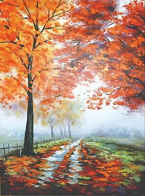 """Walk on By"" Forest Path Red Trees Oil Painting Canvas Wall Art Decor Room Home"