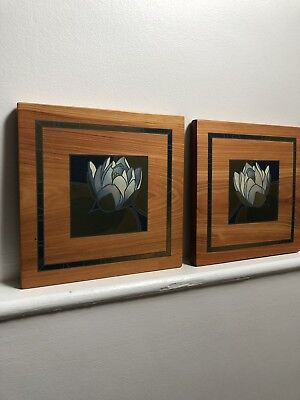 Matching Pair Of Hand Painted On Wood Wall Plaques Signed J Hunter 00