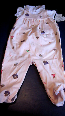 Nwt Gorgeous Ralph Lauren Girls S/S Two Piece Romper Outfit Pink 6M