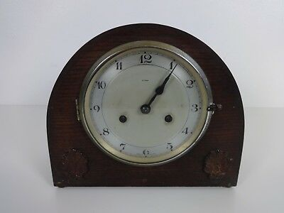Vintage Enfield Clock Wind Up Chiming Pendulum Mantel Wood Cased Working + Key