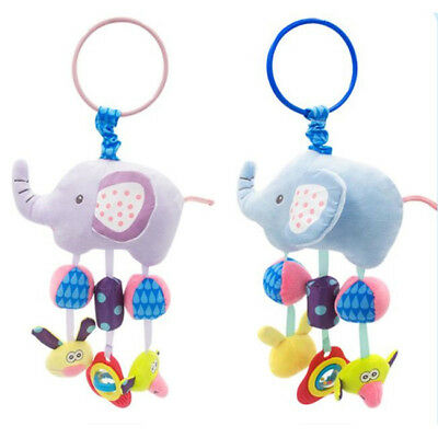 Baby Elephant Bed Stroller Rattle Plush Mobile Toy Kids Ring Bell Crib Doll S