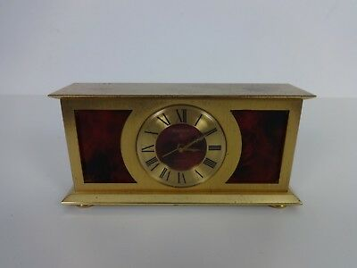 Vintage Clock Swiza 15 Jewels Swiss Made Brass Mechanical 8 Day Alarm Clock