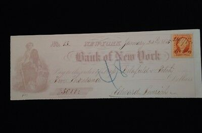 Canceld Bank Check New York 1865 WITH REVENUE STAMP CIVIL WAR YEAR Fiscal paper