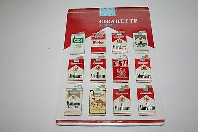 603R1-L19 Vintage 1980's Cigarette Pack Lighter Display 12 Lighters ManShack