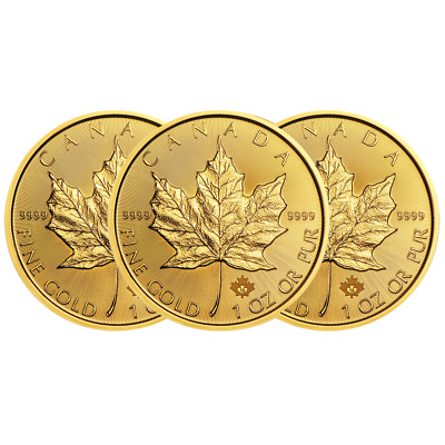 Lot of 3 - 2019 $50 Gold Canadian Maple Leaf .9999 1 oz Brilliant Uncirculated