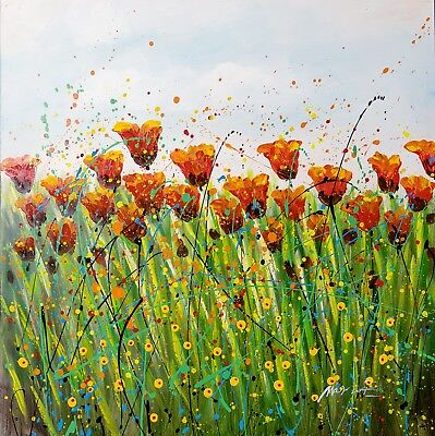 """Swaying"" Floral Red Green Blue Acrylic Painting Canvas Wall Art Decor Room Home"