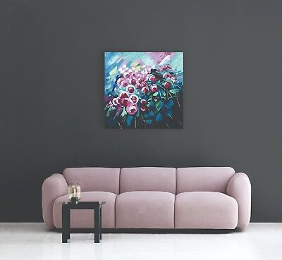 """Joyful Day"" Pink Flowers Fun Acrylic Painting Canvas Wall Art Decor Room Home"
