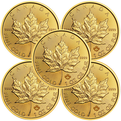 Lot of 5 - 2019 $50 Gold Canadian Maple Leaf .9999 1 oz Brilliant Uncirculated