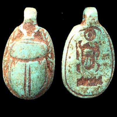 Beautiful Ancient Egyptian Scarab Amulet 300 Bc (13)