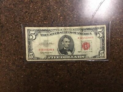 1963 Series $5 US Dollar Red Seal Note