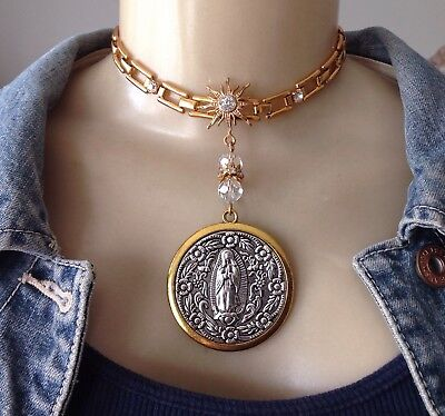 Our Lady of Guadalupe Necklace Religious Medal Pendant W/ Rhinestone Collar