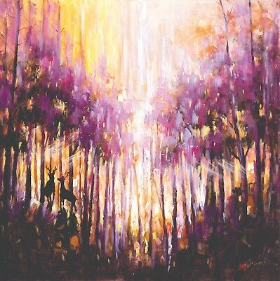 """In The Forest "" Deer Abstract Purple Gold Acrylic Painted Canvas Art Decor Home"