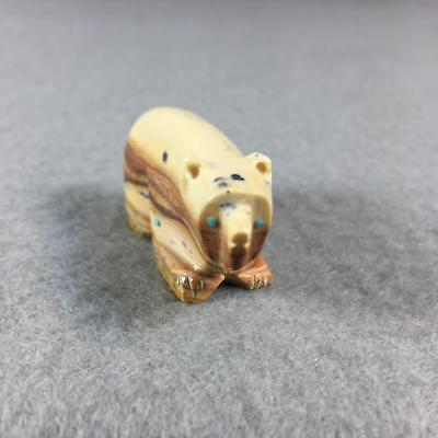 terrific! vtg Zuni Bear Fetish - David Chavez - Picasso Marble & Turquoise