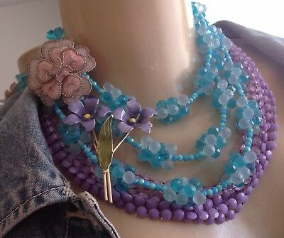Pastels 4pc Lot Vintage Plastic Beaded Necklaces W Germany Flower Brooches