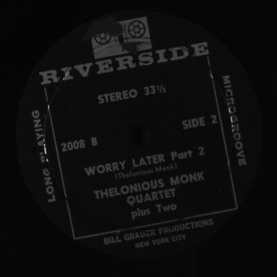 THELONIOUS MONK: Worry Later / Part 2 45 (33rpm, sm tear ol) Jazz