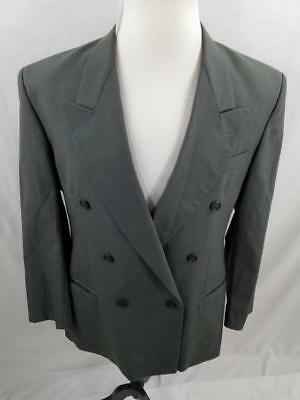 Givenchy Mens VTG Peak Lapel Double Breasted Suit Gray Plaid USA Made 42S 40S 40