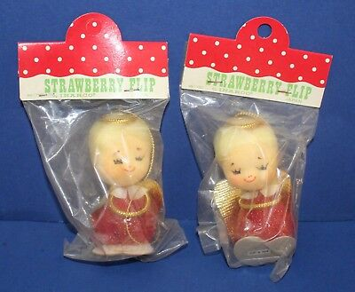 Lot of 2 Vintage Strawberry Flip Christmas Ornaments 60s NOS in Pkg Inarco Japan