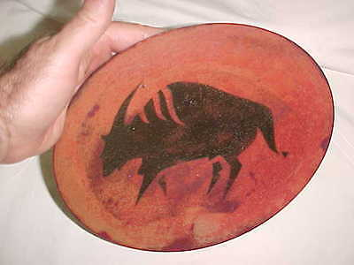 Signed Barbara Culp Modern Enamel Copper Art Plate Anasazi Indian Rock Drawing !
