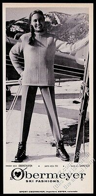 1961 Obermeyer skiing stretch pants sweater smiling woman photo vintage print ad