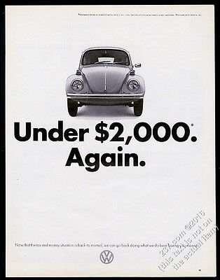 1972 VW Volkswagen Beetle classic car photo Under $2000 Again 13x10 print ad