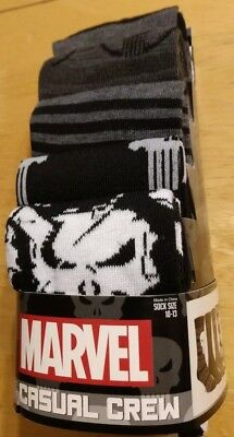 NEW! MARVEL PUNISHER 5 Pair Set Casual Crew Socks Shoe Size 10-13 Hard To Find!
