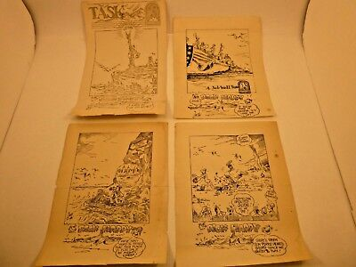 4 Original WWII Comic Cartoons Rock Happy by Zauty TASK Military Newspaper 1945