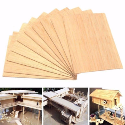 Wooden Plate Model Balsa Wood Sheets DIY House Ship Aircraft 100x100x2mm 10PCS ~