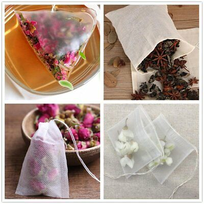 100Pcs Paper Empty Draw String Heat Seal Filter Herb Loose Tea Bag Pouch UC