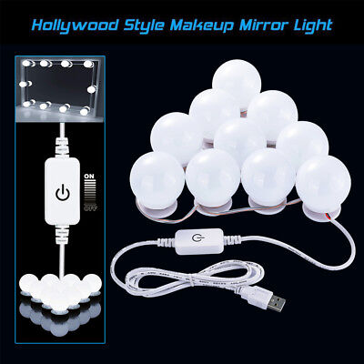 10x Hollywood LED Bulbs Vanity Mirror Makeup Dressing Dimmable Lights LD1598