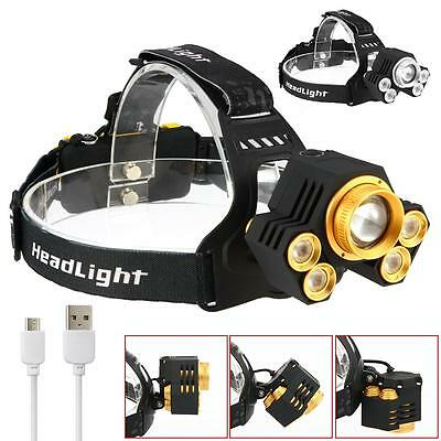 90000LM 5X XM-L T6 LED USB Headlight Zoom Headlamp Camping Fishing Head Torch XX