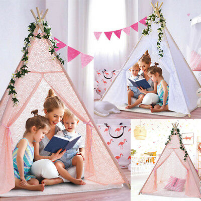 New Kids Teepee wigwam childrens play tent childs garden indoor toy 5' lace ak