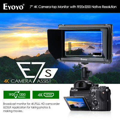 "Eyoyo E7S 7.0"" On Camera Field Monitor 1920x1200 IPS Display Supports 4K HDMI"
