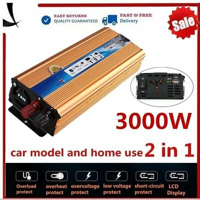 6000W 3000W Watt Peak Power Inverter DC 12V to AC 110V Car Truck USB Charger LN