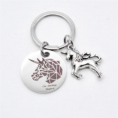 Silver Stainless Steel Unicorn Pendant Keychain Keyring Key Ring Chain BS