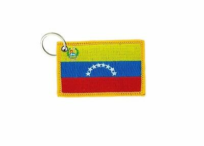 Keychain keyring embroidered embroidery patch double sided flag venezuela