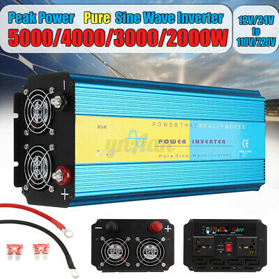 3000/5000/6000W Pure Sine Wave Inverter 12V/24V to 110V/220V Car Power Converter